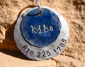 The Kiba (#006) - Blue Silver Distressed Hammered Unique Handstamped Pet ID Tag Layered 2 Disc Dogs