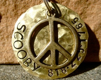 The Scooby (#069) - Hammered Distressed Peace Pet ID Tag Dog Brass