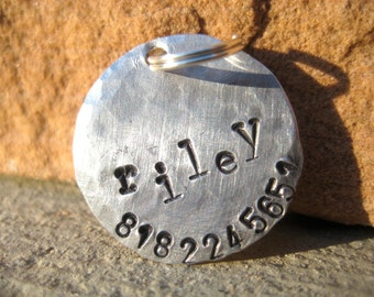 The Riley (#029) - Distressed Handstamped Pet ID Tag Aluminum Small Dog Cat