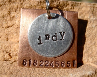The Indy (#012) - Unique Handstamped Pet ID Tag Layered 2 Disc Square Circle Dogs