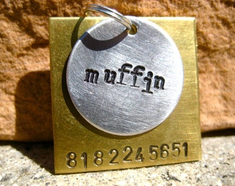 The Muffin (#018) - Unique Handstamped Pet ID Tag Layered 2 Disc Square Circle Dogs