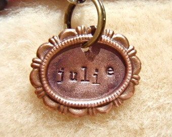 The Julie (#016) - Cameo Handstamped Pet ID Tag Unique Small Dog Cat