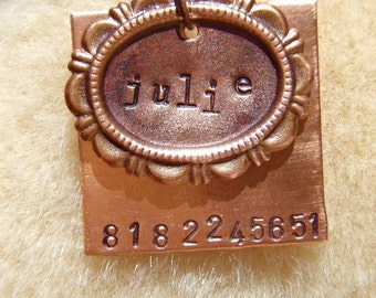 Julie Deluxe (#078) - Cameo Handstamped Pet ID Tag Unique Dog