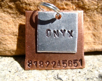 Cube Cuties Onyx (#064) - Square Pet ID Tag Handstamped Unique Layered Small Dogs Cats