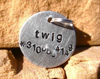 The Twig (#053) - Unique Handstamped Pet ID Tag Aluminum Silver Small Dog Cat