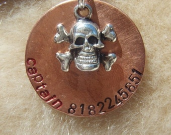 Walk the Plank (#038) - Unique Handstamped Pirate Skull Pet ID Tag Dog