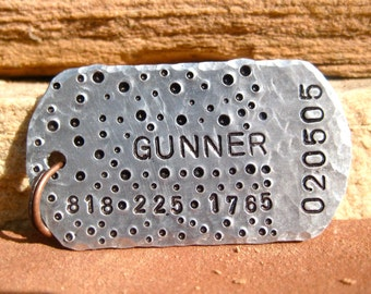 The Gunner (#105) - Military Style Design- Unique Pet ID Tag Silver Square Large Dogs