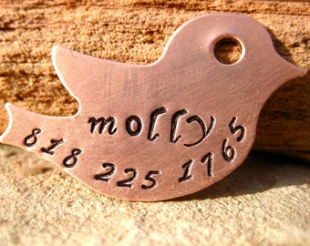 The Molly (#050) - Copper Bird Handstamped Pet ID Tag Unique Dog Cat