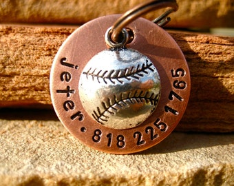 The Jeter (#019) - Unique Handstamped Dog Tag Baseball Pet ID Tag Dogs