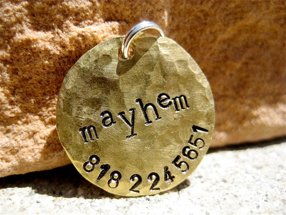 The Mayhem (#023)- Distressed Handstamped Pet ID Tag Brass Small Dog Cat