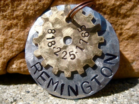 The Remington (#027) - Distressed Hammered Steampunk Cogs Silver Gold Unique Handstamped Pet ID Tag Layered 2 Disc Dogs