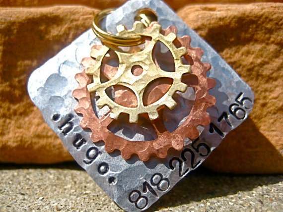 The Hugo (#043) - Distressed Hammered Steampunk Cogs Silver Gold Unique Handstamped Pet ID Tag Dog Tags Pet Tags Extra Large Dogs