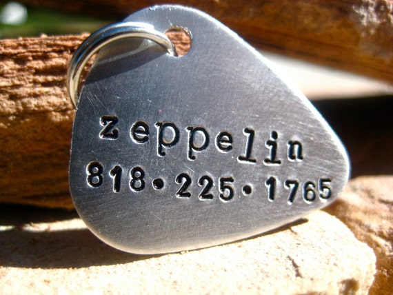 The Zeppelin (#099) - Guitar Pick  Design-Unique Handstamped Pet ID Tag-  Silver Aluminum