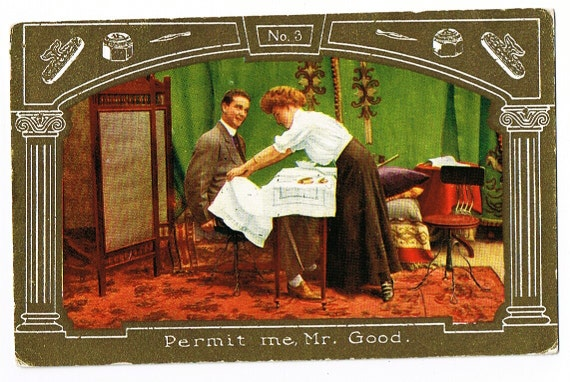 Spa Day at the Mens Club - Edwardian Manicurist - Grooming Habits of Gentlemen - VTG PC ca 1909