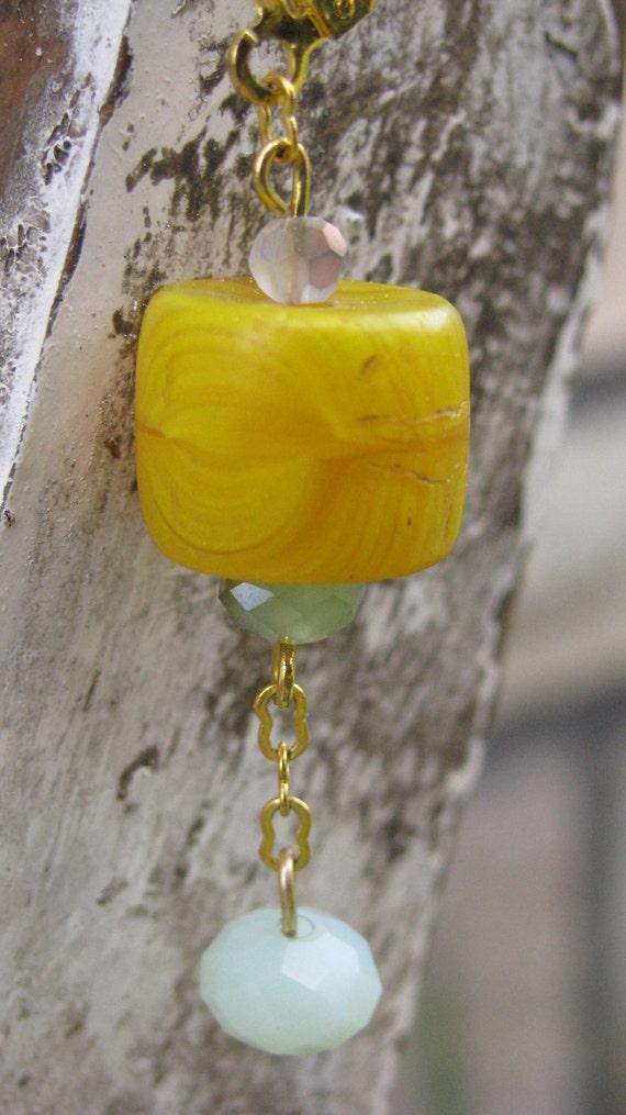Earrings, Women Ethiopian Vintage Yellow Trade Bead & Jade, Jadeite Swarovski Glass beads - Gold Pated Handmade in Ethiopia- Free Shipping.