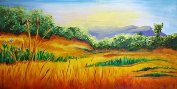 Meadow, original oil painting