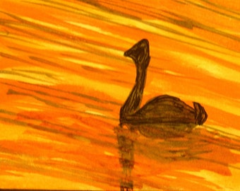 Duck and Sunset Original ACEO by Corey Poole Brown