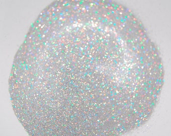 Rainbow Silver SOLVENT RESISTANT  HOLOGRAPHIC Glitter 0.015 Hex - 1 Fl. Ounce for Glitter Nail Art , Glitter Nail Polish & Glitter Crafts
