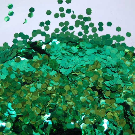 Green Mix Lime Emerald SOLVENT RESISTANT 0.125 Hex Glitter