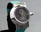 Wristwatch handcrafted with Patterned Dial in sterling silver