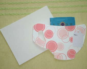 Tea Cup Die Cut Card With Tea Bag, Tag And Coordinating Envelope.