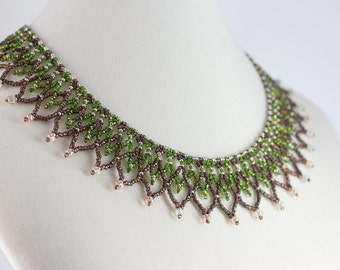 Green Necklace - Netted Collar Necklace - Beaded Jewelry - Beadwork Necklace - Seed Bead Jewelry - Beaded Necklace