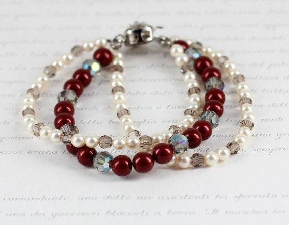 Pearl Crystal Bracelet, Triple Strand, Red, Cream,