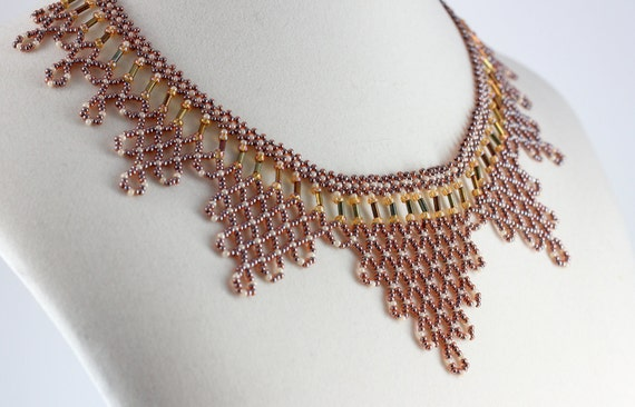 Brown, Copper Harlequin Seed Beaded Necklace