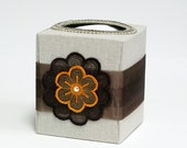 Brown, tangerine, neutral refillable tissue box, home decor, office decor