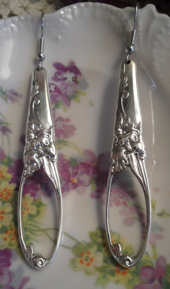 Earrings, handcrafted from antique silverware, white orchid