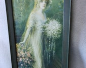 Antique Victorian Edwardian Print of a Bride in Wedding Gown
