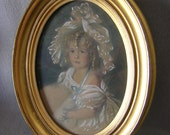 Lovely Antique Print of Pretty Little Girl in Lace Bonnet