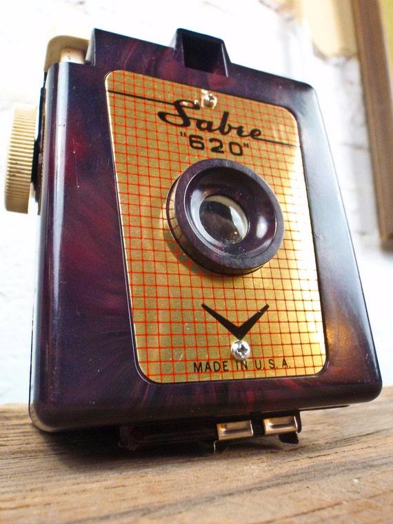 Purple Sabre Camera - Rare purple swirled bakelite Sabre 620 box camera