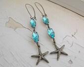 Starfish Earrings, Vintage Rhinestones