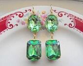 Vintage Earrings Peridot Earrings Dangle Earrings Bridal Jewelry Peridot Green Bridesmaid Earrings Wedding Jewelry
