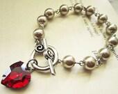 Almond Pearl Bracelet, Heart Bracelet, Valentine Jewelry, Red Heart Bracelet, Valentines Gift for Her, Heart Jewelry