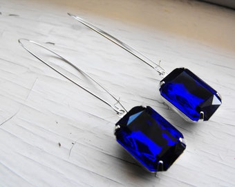 Sapphire Earrings Vintage Earrings Cobalt Blue Earrings Bridal Jewelry Sapphire Blue Earrings