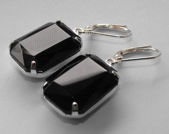 Black Earrings Vintage Dangle Earrings Prom Earrings Black Wedding Jewelry Gift for Her Bridal Jewelry