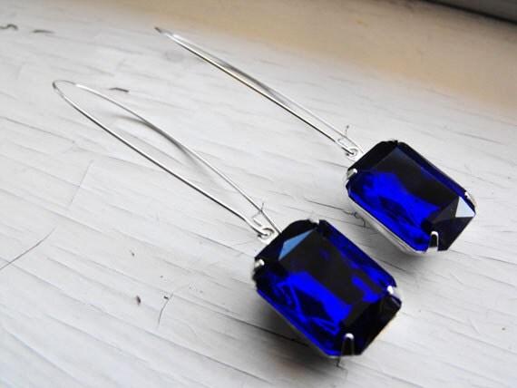 Sapphire Earrings Vintage Earrings Cobalt Blue Earrings Bridal