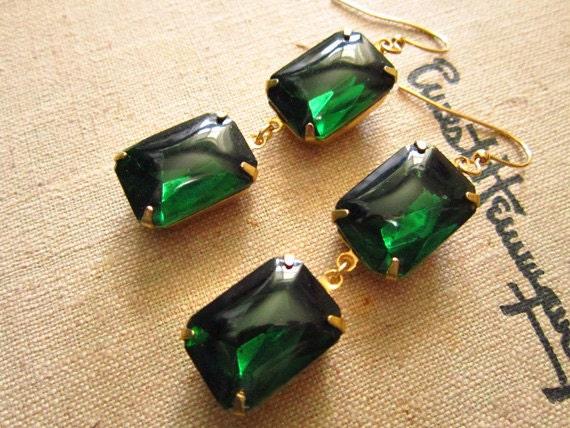 Emerald Green Earrings Vintage Crystal Earrings Hollywood Glam Wedding Fall Fashion