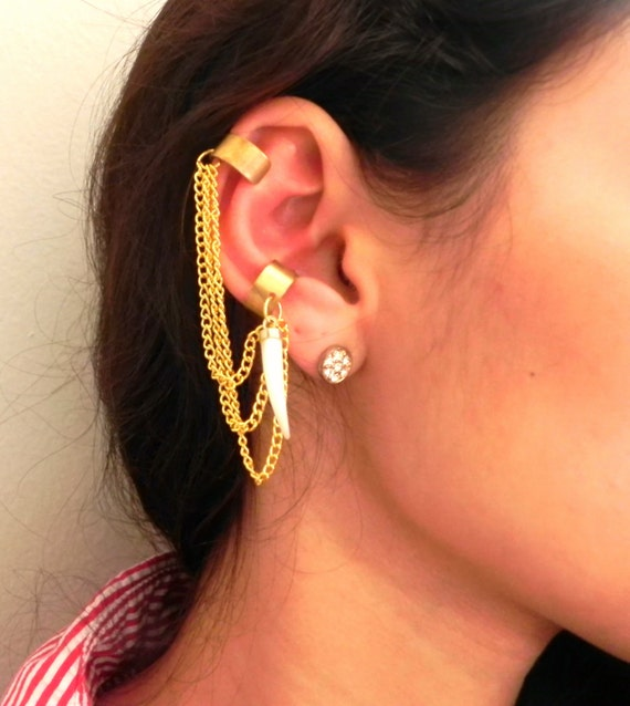 Double Ear Cuff w/ Vintage Tusk - ONE OF A  KIND