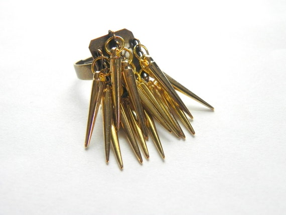 Brass Spiked Ring - Adjustable