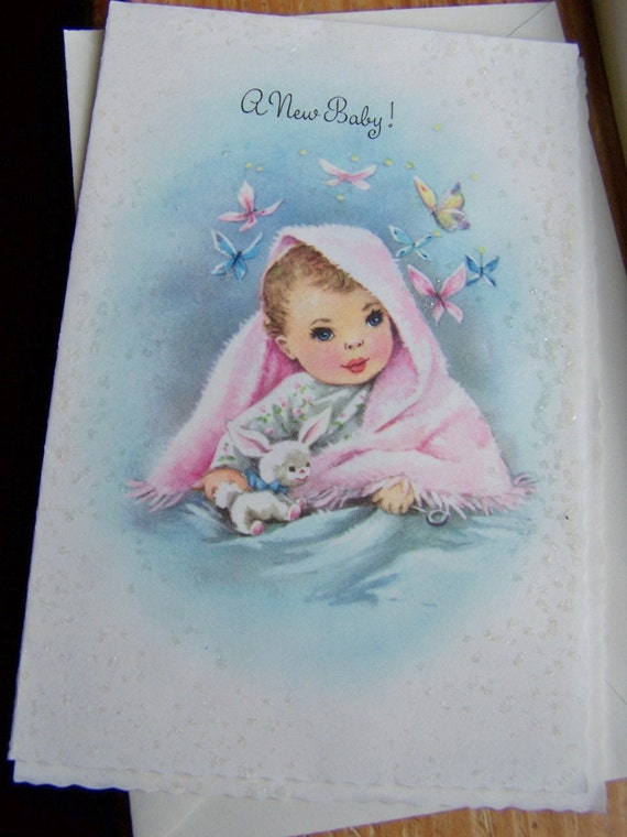 Vintage Baby Girl Greeting Card