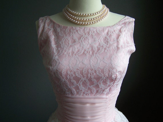 1950s 60s Vintage Pink Lace Tea Length Prom Party Dress Peggy Sue XS/Small