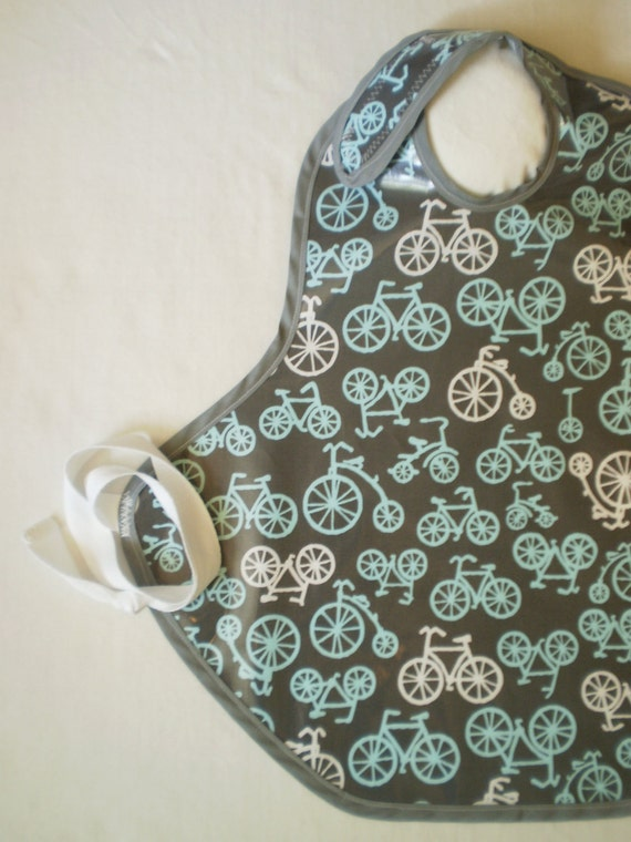 Art Smock in Gray Bicycles--Designer Michael Miller Fabrics--Size 2T-5T--CPSIA Compliant--Ready to Ship