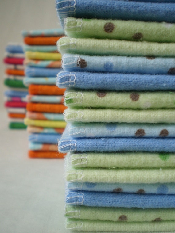 Reusable Cloth Wipes Pack of 16--Boys Soft Blue/Green PolkaDot Mix--Ready To Ship