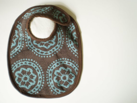 EcoFriendly Baby Bib With Adjustable Snap Closure--Cocoa and Auqa--Ready to Ship