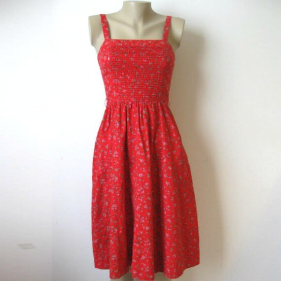 Lanz Original Red Sun Dress with Flowers Size S