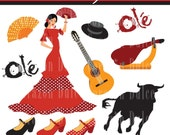 Spain 1 Digital Clip Art Set - Personal and Commercial Use - Spanish guitar, flamenco...