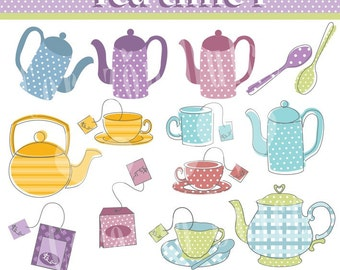 INSTANT DOWNLOAD Tea Time 1 Digital Clip Art Set - Personal and Commercial Use Clip Art